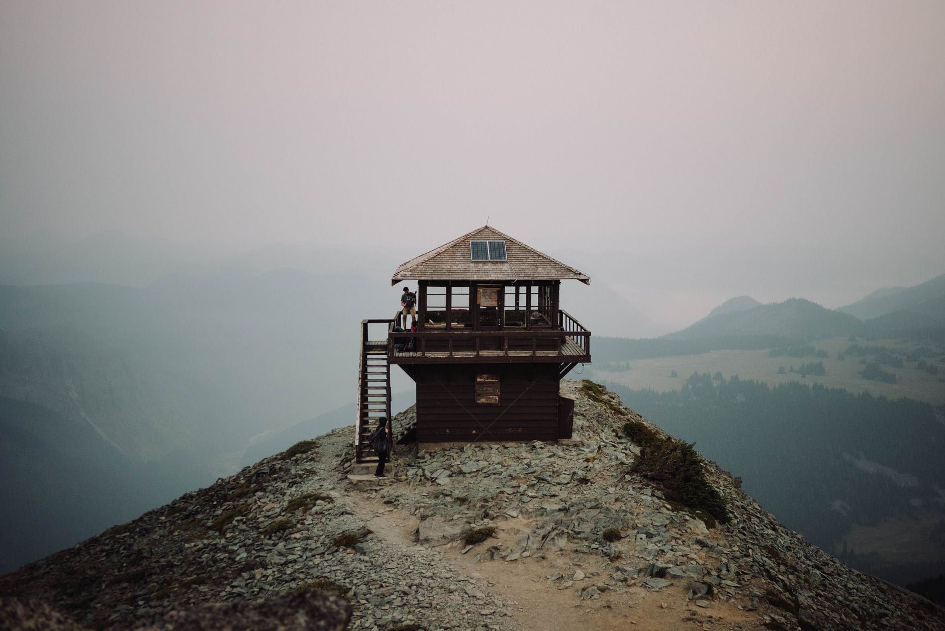 lonely wooden house on high mountain