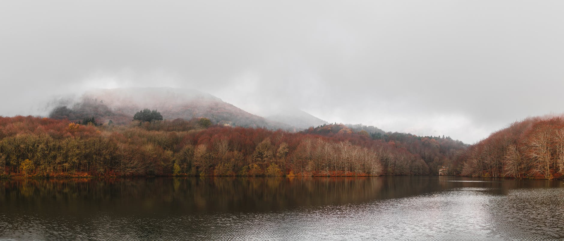 rippling lake with fall trees on shore