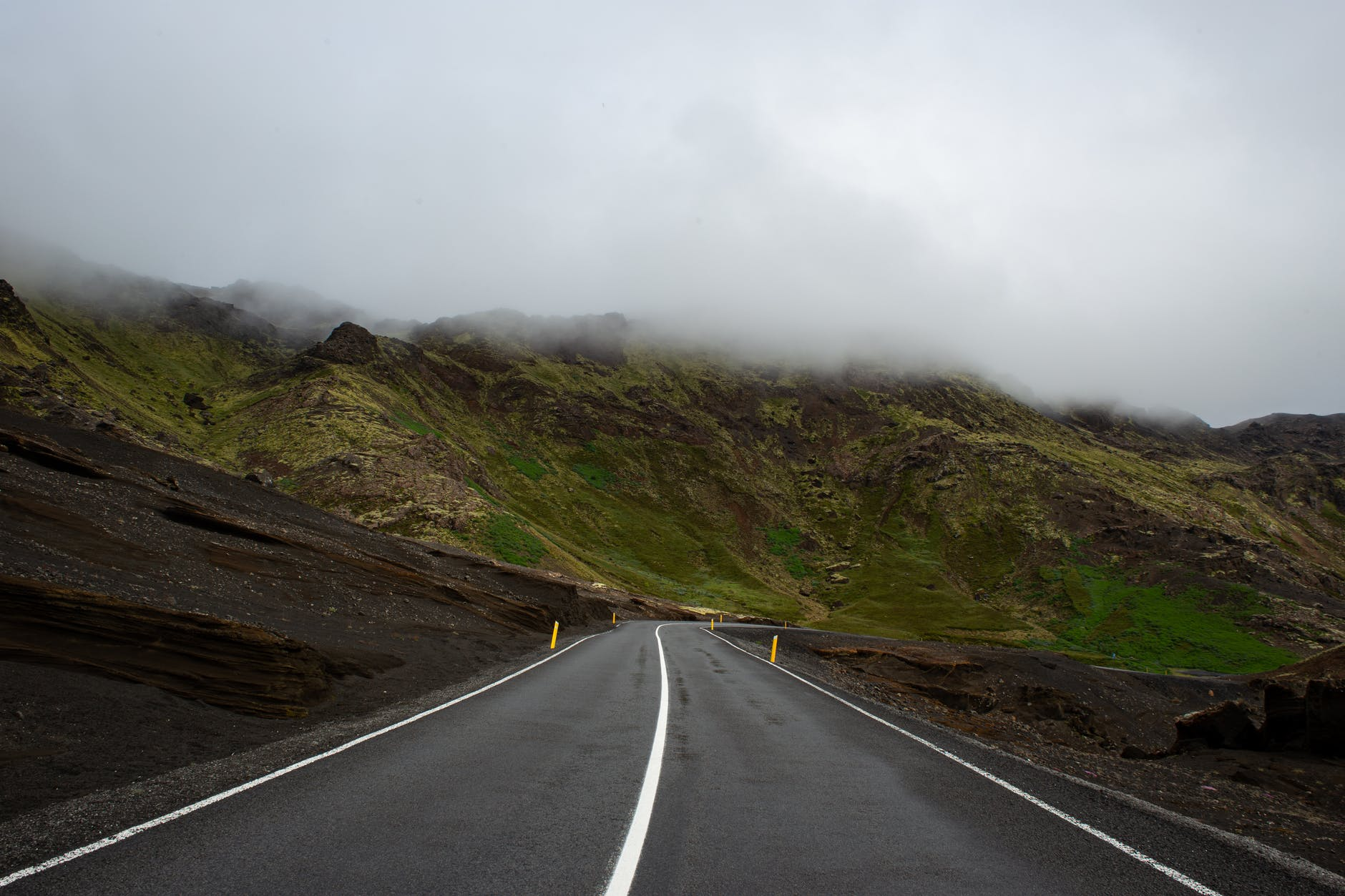 empty road along the mountain